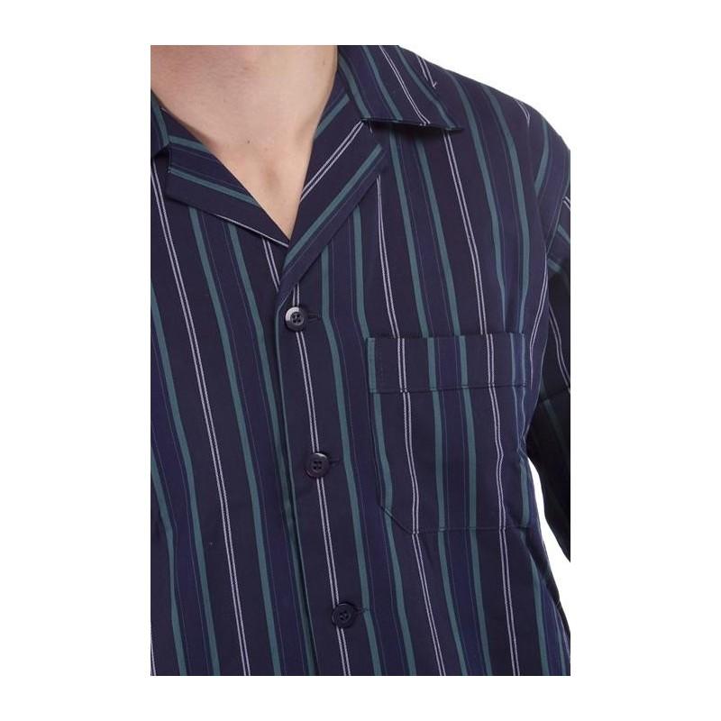 blau und gr n gestreift ambassador pyjamas mit kn pfen. Black Bedroom Furniture Sets. Home Design Ideas