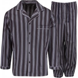 Ambassador Flanell-Pyjamas - Schwarz / Grau